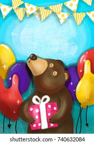 Cute bear holding gift box and give in on special days. Greetings Card and poster illustration have space for your text.
