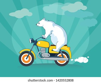 Cute bear riding a motorcycle. Cartoon animal illustration. Traveling sport design. Can be used for t-shirt print, kids wear fashion design, invitation cards, postcards.