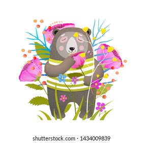 Cute bear smelling flower hand drawn illustration. Adorable forest animal with flowers illustration. Dreamy teddy and aromatic plant. Cartoon brown grizzly holding poppy. Postcard, greeting card.