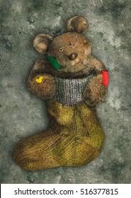Cute bear in sock gift in grunge style postcard
