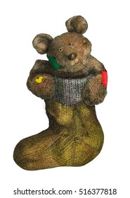 Cute bear in sock gift in grunge style isolated