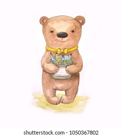 Cute bear standing and holding glass bottle with the elixir. Watercolor.
