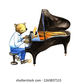 Cute bear in a suit playing the piano jazz.. Hand drawn watercolor illustration, poster wall art.