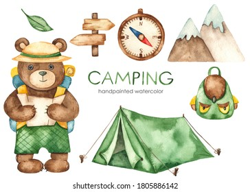 Cute bear traveler, tent, pointer, compass, backpack. Camping watercolor clipart
