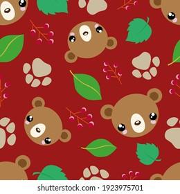 Cute bears background. Bears seamless pattern. Childish illustration