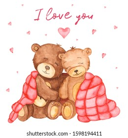 Cute bears in love under the covers. Watercolor Valentines's Day card