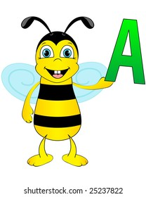Cute bee holding letter A. Whole alphabet in my portfolio.
