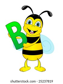 Cute bee holding letter B. Whole alphabet in my portfolio.