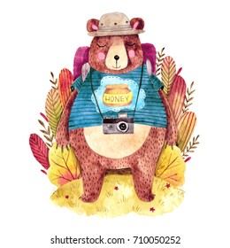 Cute big bear with backpack. Hand drawn watercolor illustration with traveling bear. Cute plants on background.