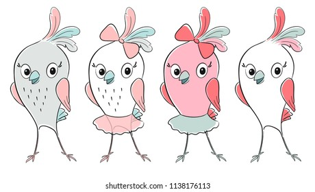 Cute Bird Cool Print Set Child Stock Vector Royalty Free - Cool-pics-for-kids-to-draw