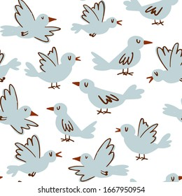 Cute birds hand-drawn seamless pattern. Cartoon birds for kids and home decor background in light blue on white background for wrapping paper, fabric, textile, wallpaper