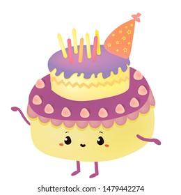 cute birhtday cake illustration print design