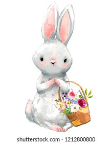 cute birthday cartoon hare with floral basket