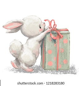 cute birthday cartoon hare with present box