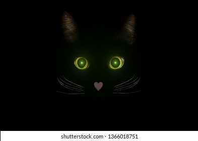 Cute black cat concept, dark mysterious style. Glowing cat eyes in the dark night. Beautiful animal portrait. Domestic pet concept.