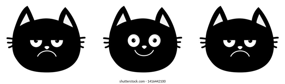 Cute black cat set line. Emotion collection. Happy, smiling and sad, angry kitten head face. Optimist pessimist. Funny cartoon characters. White background Isolated Flat design.
