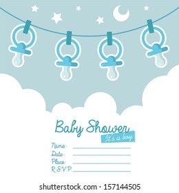 Cute blue baby shower invitation card for boys with pacifiers