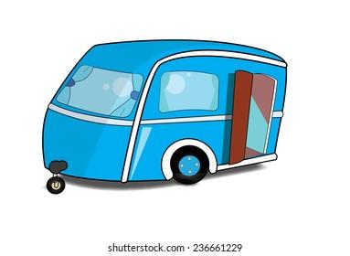 Cute blue Caravan with its door open.