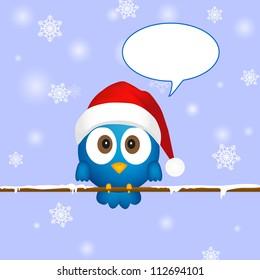 Cute blue christmas bird with speech bubble