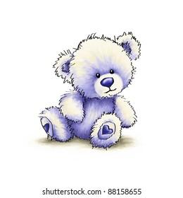 Cute blue teddy bear on white background