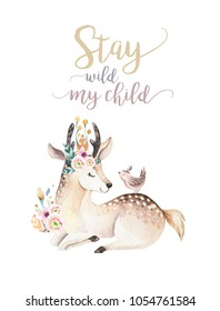 Cute bohemian baby cartoon deer animal for kindergarten, woodland nursery isolated decoration forest illustration for children forest animals pattern. Watercolor hand drawn boho poster set