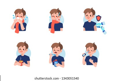 Cute boy with  flu disease and treatment.  Flat cartoon illustration isolated on white background.