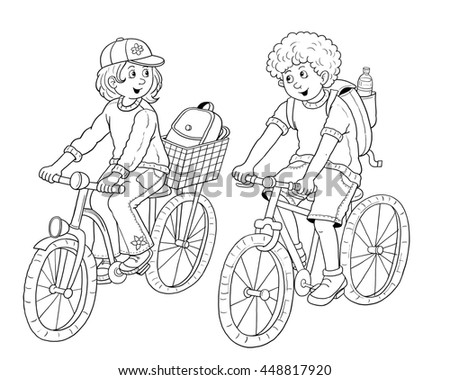 Girl bike riding coloring pages ~ Cute Boy Girl Traveling On Bikes Stock Illustration ...