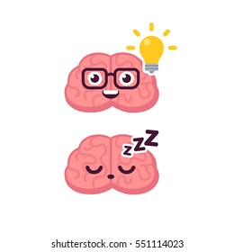 Cute brain character illustration. Sleeping and lightbulb idea concept. Cartoon icon.