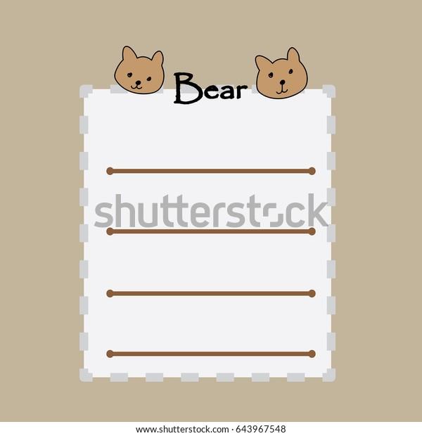 Cute Brown Bear Memo Wallpaper Background Stock Illustration