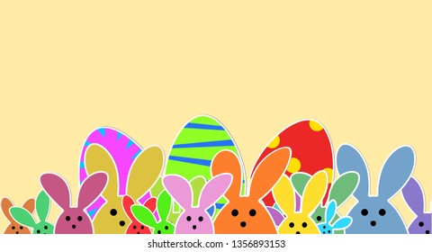 Cute Bunnies as illustration on beige Background. Playful Easter Bunnies Background for the Easter Season.  Easter Graphic with colorful Rabbits and Easter Eggs.
