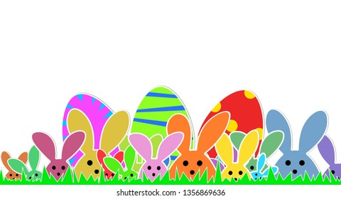 Cute Bunnies as illustration on white Background with. Playful Easter Bunnies Background for the Easter Season.  Easter Graphic with green Grass, colorful Rabbits and Easter Eggs.