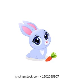 Cute Bunny with Carrot Isolated on White Background. Little Baby Rabbit with Kawaii Big Eyes Design Element for Baby Shower Greeting Card. Funny Forest Animal Cartoon Illustration, Clipart