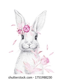 Cute Bunny. Easter Bunny. Animal Pencil Draw.  Forest frends. Watercolor pink flowers. Nursery Wall Art. White background