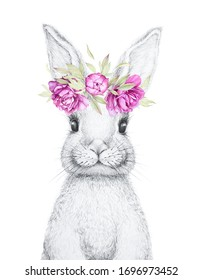 Cute Bunny. Easter Bunny. Pencil Draw. Watercolor flowers decor. Nursery Wall Art. Kids Art Gift. Forest animal. White background