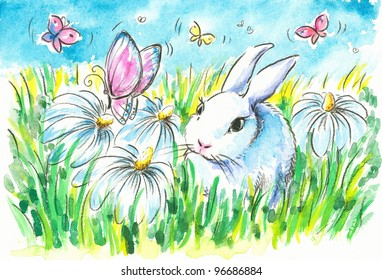 Cute bunny with flowers and butterflies on green lawn.Picture I have created with watercolors.