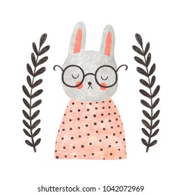 Cute bunny with glasses. Hand drawn pencil illustration with rabbit