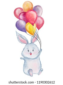 Cute bunny holding balloons. Watercolor illustration