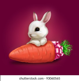 Cute bunny rabbit with carrot