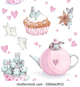Cute Bunny. Seamless Pattern with rabbit. Watercolor background