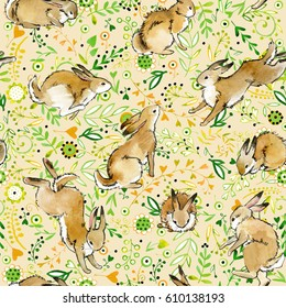 cute bunny seamless pattern. rabbit watercolor illustration. wild animal. herbal background. decorative botanical flower, plant, herb and leaves ornament.