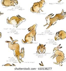 cute bunny seamless pattern. rabbit watercolor illustration.