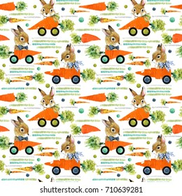 Cute bunny seamless pattern. rabbit watercolor Illustration.