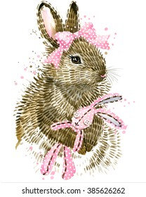 Cute Bunny. Watercolor Rabbit illustration.