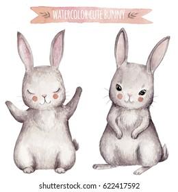 Cute bunny watercolor set. Little beautiful rabbits.