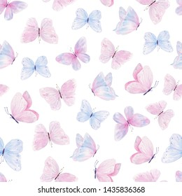 Cute butterflies hand drawn watercolor seamless pattern. Animalistic design raster texture. Colorful, vibrant illustration on white background. Beautiful pastel creatures wallpaper design