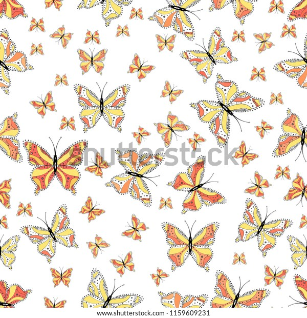 Cute Butterflies On White Yellow Pink Stock Illustration 1159609231