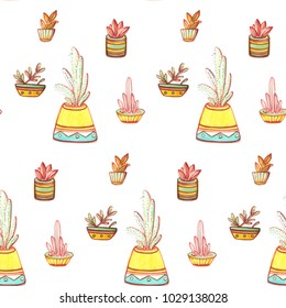 Cute cactus pattern with multicolor suculents in flowerpots