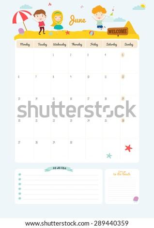 Cute Calendar 2016 Template Happy Birthday Stock Illustration
