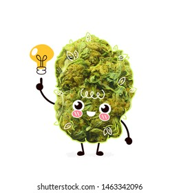 Cute cannabis weed bud with light bulb.  Cartoon character illustration design with hand drawing graphic elements. Isolated on white background. Marijuana,cannabis have idea concept