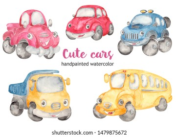Cute cars watercolor clipart. Cartoon illustrations car beetle, off road SUV, school bus, pickup, truck